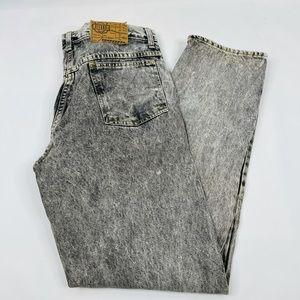 90s Streetwear Black Acid Wash Tapered Jeans